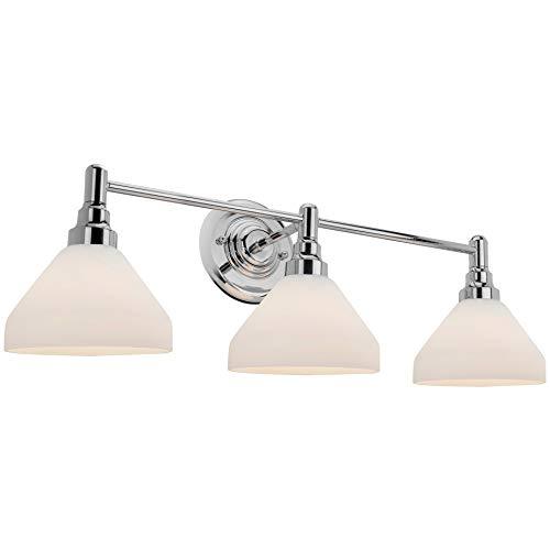 Kira Home Serene 26.5″ Modern 3-Light Vanity/Bathroom Light, Frosted Glass Shades + Chrome ...