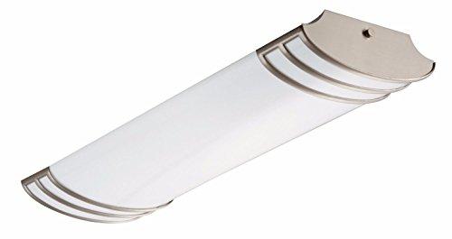 Lithonia Lighting Brushed Nickel 2-Ft Flush Mount Light for Kitchen | Attic | Basement | Home, 4 ...