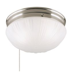 Westinghouse 6721000 Two-Light Flush-Mount Interior Ceiling Fixture with Pull Chain, Brushed Nic ...