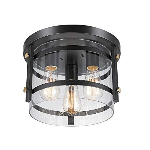 Globe Electric Wexford 3 Light Flush Mount Ceiling Light Dark