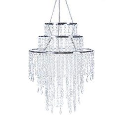 SUNLI HOUSE 3 Tiers Sparkling Acrylic Iridescent Beaded Pendant Shade, Ceiling Chandelier Lampsh ...