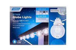 Camco 42742 Decorative RV Awning Globe Lights – 6 Clear Globes on White Wire,  Fits Direct ...