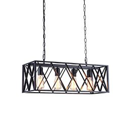 Diborui Industrial Kitchen Island Lighting with 4 E26 Sockets, Rectangular Vintage Pendant Light ...