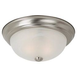 Sea Gull Lighting 75942-962 Windgate Two-Light Flush Mount Ceiling Light with Alabaster Glass Sh ...