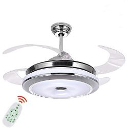 Fandian 36Inch Modern Ceiling Light with Fans Remote Control Retractable Blades for Living Room  ...