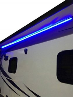 RecPro RV 12′ Blue LED Awning Party Light 12V W/MOUNTING Channel – White PCB