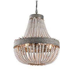 Newrays Wood Bead Chandelier Pendant Three Lights Vintage Antique Rustic Kitchen Ceiling Lamp Li ...