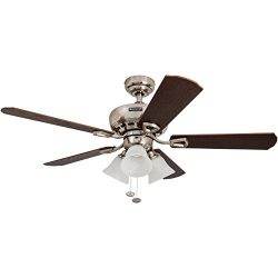 Honeywell Springhill 50184 44″ Ceiling Fan with Swirled White Light Shades, Five Reversibl ...