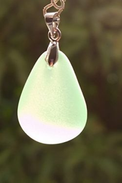 New Artisans 1″ Beach Sea Glass Bead Drilled Freeform Dropwater Pendent Charm Craft (Light ...