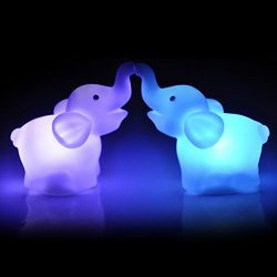 Gotian 2Pcs Elephant Color Changing LED Night Light Lamp Wedding Party Home Decor