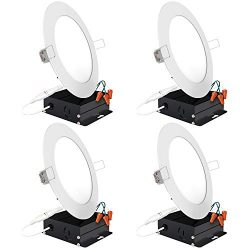 Sunco Lighting 4 Pack 6 Inch Slim LED Downlight with Junction Box, 14W=75W, 850 LM, Dimmable, 50 ...