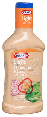Kraft Light Thousand Island Reduced Fat Dressing, 16-Ounce Plastic Bottles (Pack of 6)