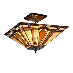 Docheer Tiffany-Style Mission 2-Light Semi Flush Mount Ceiling Lamp Fixture Light with 14-Inch S ...