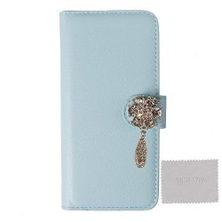 xhorizon TM FC PU Leather with Fantasy Decoration Rhinestone Pendent Flower Leaf Light Blue Case ...