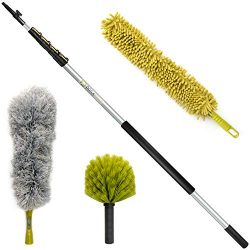 DocaPole 30 Foot High Reach Dusting Kit with 6-24 Foot Extension Pole // Cleaning Kit Includes 3 ...