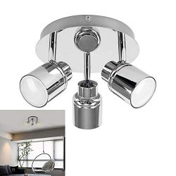 Modern 3-Light Multi-Directional Ceiling Fixture, Adjustable Round Track Lighting Kits, GU10 LED ...