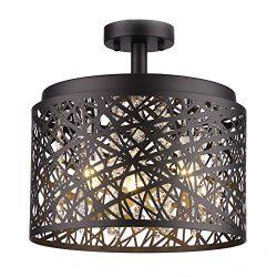 Wtape Vintage 3 Light Crystal Black Finish Semi-Flush Mount Ceiling Light, Lighting Fixture with ...