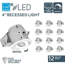 Nadair 12-Pack 4″ Swivel Dimmable LED recessed Light Complete kit, White, Piece – CP ...