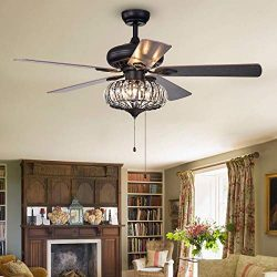 52 inch Retro Crystal Ceiling Fan Lamp,LED Ceiling Fan Light Kit with Elegant Crystal Cover and  ...