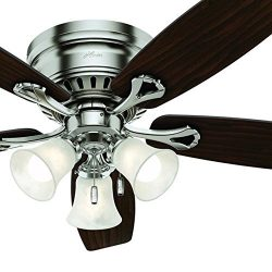 Hunter Fan 52 inch Brushed Nickel Finish Casual Ceiling Fan with Light Kit and Remote Control (C ...