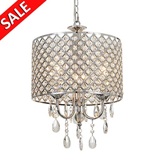 Delica Home 3-Light High-grade Drum Crystal Chandelier, Chrome Finish, Fashion Chandeliers for L ...
