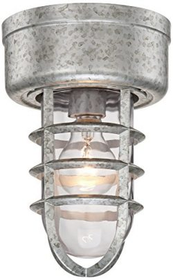Marlowe 10 3/4″ High Galvanized Cage Outdoor Ceiling Light