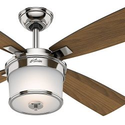 Hunter 52″ Polished Nickel Finish Contemporary Ceiling Fan light kit (Certified Refurbished)