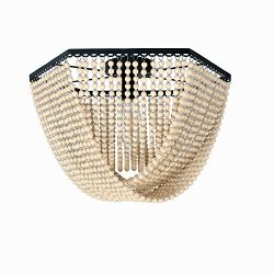 Unitary Brand Antique Black Metal and Wood Beads Decoration Hexagon Flush Mount Ceiling Light wi ...