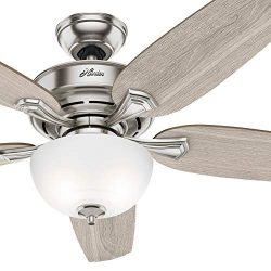 Hunter Fan 54 inch Brushed Nickel Indoor Ceiling Fan with Light Kit (Certified Refurbished)