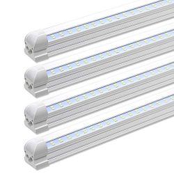 LED Shop Light Fixture, 8 Foot, 72W, 7200LM, 6000K Cool White, Flat Dual Row, Fluorescent Tube L ...