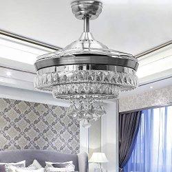 Huston Fan Modern Ceiling Fan Light with 4 Retractable Blade for Indoor Dining Bedroom Restauran ...