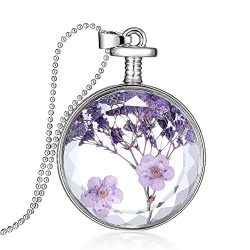 Gmai Round Shape Dried Pressed Purple Flower Pendant Necklace,White Gold Plating,23.6″ Bea ...