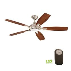 Home Decorators Collection Petersford 52 in. Integrated LED Indoor Brushed Nickel Ceiling Fan wi ...