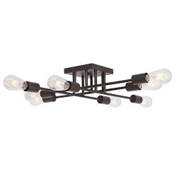 VINLUZ 8 Light Oil-Rubbed Bronze Mid Century Semi Flush Mount Ceiling Light Industrial Antique S ...