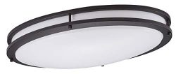 Cloudy Bay LED Flush Mount Ceiling Light,24 Inch 3000K Warm White,28W Dimmable,Oil Rubbed Bronze ...