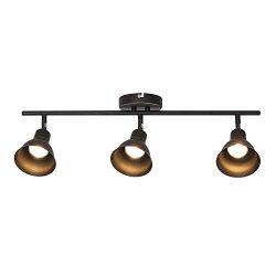 MELUCEE Ceiling Track Lighting with 3-Light Adjustable Track Heads, Oil Rubbed Bronze Spotlights ...