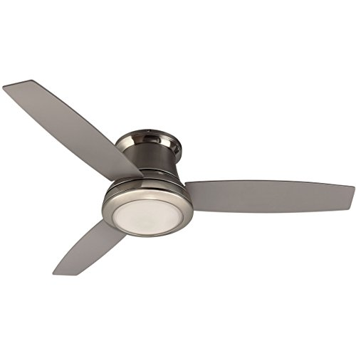 Harbor Breeze 40048 Sail Stream 52-in Brushed Nickel Indoor Flush Mount Ceiling Fan with Light K ...