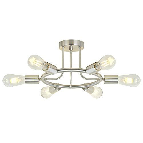 Sputnik Chandelier Brushed Nickel Modern Starburst Chandelier 6 Lights Semi Flush Mount Ceiling