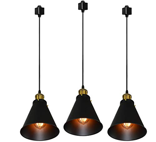 Kiven H-Type Track Lignting Pendant Antique Industrial Oil Rubbed Bronze Pendant Light 3 Pack fo ...
