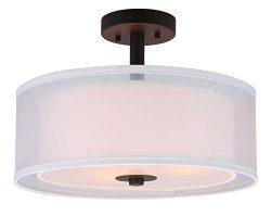 XiNBEi Lighting Semi Flush Mount Ceiling Light, 3 Light Drum Semi Flush Light, 16″ Close t ...