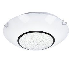 AUDIAN Flush Mount Ceiling Light Ceiling Lamp Dimmable LED Modern Roundness Glass Shade K9 Cryst ...