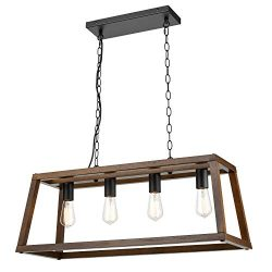 Light Society LS-C262-WL Bristol Walnut Wood Pendant Lamp Chandelier with Metal Chain, Modern In ...