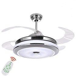 36 Inch Ceiling Fans with Lights, Modern 4 Blade Invisible Ceiling Fan Chandelier Light with 3-c ...