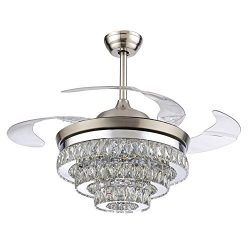 RS Lighting European Crystal Ceiling Fan Light Kit -42 inch with Retractable Four Blades and Rem ...