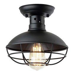ZZ Joakoah Industrial Vintage Rustic Semi Flush Mount Ceiling Light, Metal Cage Pendant Lighting ...