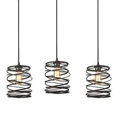 Track Lighting Pendants 3-Pack, Island Edison Hanging Lights Height Customizable, Kitchen Light  ...