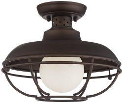 Franklin Park 12″ Wide Bronze Metal Cage Ceiling Light