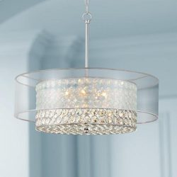 Saint Mossi Chrome K9 Crystal Raindrop Chandelier Lighting Flush Mount LED Ceiling Light Fixture ...