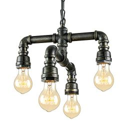 NIUYAO Antique Industrial Wrought Iron Pendant Chandelier Lighting Vintage Steampunk Water Pipe  ...