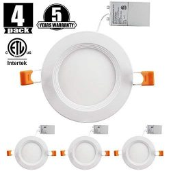 9W 4″ Ultra-Thin Recessed Ceiling Light with Junction Box,Slim LED Downlight Dimmable 3000 ...